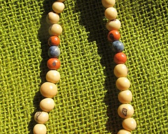 cool necklace, natural wedding, beach jewel, handmade jewelry sets, red, blue and beige raw beads, natural bride, green ideas