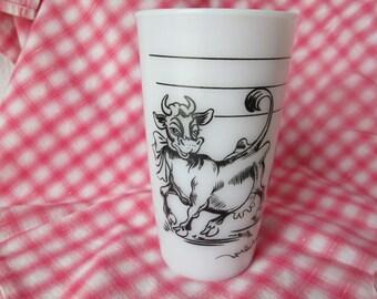Vintage Elsie the Cow Beverage Glass, White Milk Glass by Hazel Atlas