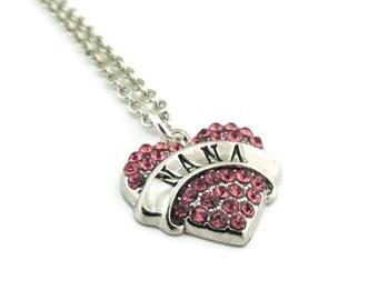 Nana Rhinestone Heart Necklace, Nana Necklace, Nana Pink Rhinestone Necklace, Rhinestone Heart Necklace, Heart Necklace