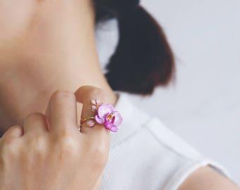 Phalaen Purple Ring , Flower Ring , Handpainted GOODAFTERNINE , Phalaenopsis , Orchid