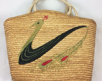 1950s straw bag with peacock.