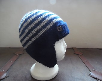 Hand knitted baby boy aviator hat