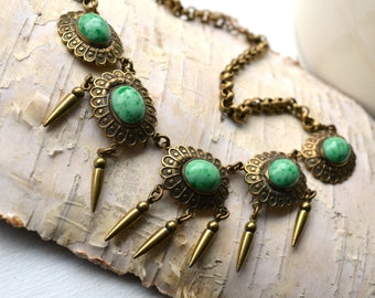 Vintage 1920's Victorian revival Peking glass / faux jade necklace with brass fringe.