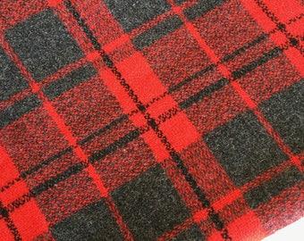 Vintage Red dark grey tartan wool fabric