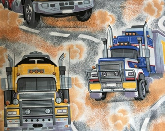 Vintage TRUCKS cotton fabric one for the boys!