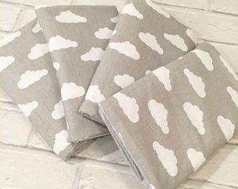 Clouds Cot Bar Bumpers - Cot Bedding, Nursery Decor Crib Bumper - Grey Black Blue White - Scandi Style