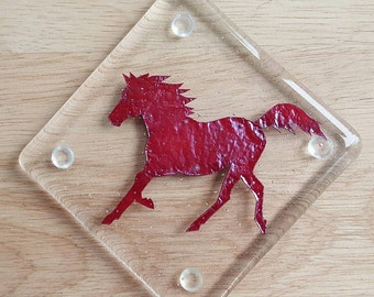 """Horse lovers! 4""""x4"""" kilnformed Glass Coasters, Set of 4"""