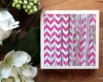 Pink Coasters - Coaster - Tile Coaster - Chevron Decor - Coasters for Drinks - Coasters Tile - Handmade Coasters - Rustic Coasters