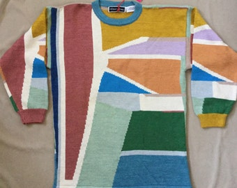 Christine Foley Sweater Geometric Color Block Pattern Long Style Cotton Vintage 1970s NWT New