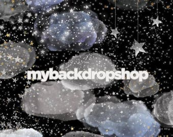 5ft x 5ft Starry Night Sky Photo Backdrop - Moon and Stars Photography Drop - Infant Photo Session Prop - Outer Space Photo Prop - Item 3135