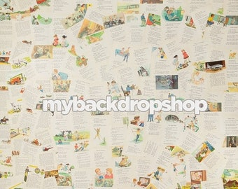 2ft x 2ft Children's Book Backdrop - Storybook Pages Photo Background - Vintage Newspaper - Exclusive Design - Item 2139
