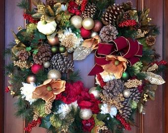 Christmas Front Door Wreath, Holiday Wreath, Christmas Wreath, XXL Wreaths, Wreath, Holiday Gift Wreath, XXL Wreaths, XXL Christmas Wreaths