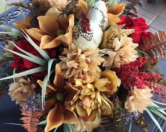 Rooster Rustic Centerpiece, Tuscan Floral Arrangement, Floral Arrangement, Centerpiece, Designer Centerpiece, Rustic Floral Arrangement