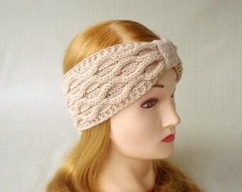 Winter headband Knit ear warmer headband Knitted head bands for women Cable Knit headband Earwarmer Hand Knit turban headband Womens gift
