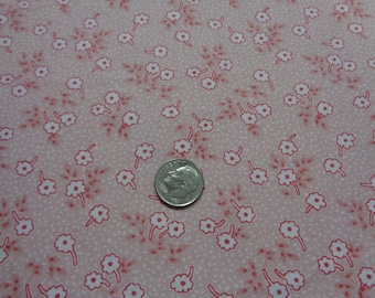 100% Cotton--1/2 Yard- Peachy Pink - 1930's reproduction Fabric--Excellent for Doll Clothes- Quilting
