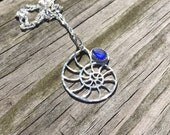 Sea Glass necklace, nautilus sea glass necklace, cobalt blue sea glass necklace, bezel set in fine & argentium silver, eco-friendly jewelry