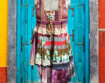 Gypsy Recycled Dress***Bohemian Dress***Multicolor dress***Layers