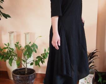 Asymmetric Short Sleeve Linen Dress Black Linen Dress  Extravagant Loose Dress  § Nara LR019