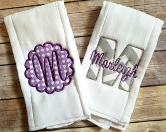 Set of 2 Burp Cloths - Personalized Baby Girl Burp Cloth Set - Monogram Burp Cloth - Embroidered Baby Burp Cloth - Newborn - Baby Girl