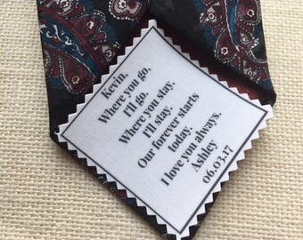 "FROM BRIDE to GROOM Tie Patch Ink Printed - Choose Message & Font - 2.5"" x 2.5"" Sew on/Iron On, Wedding Tie Patch, Bridegroom Gifts, Groom"