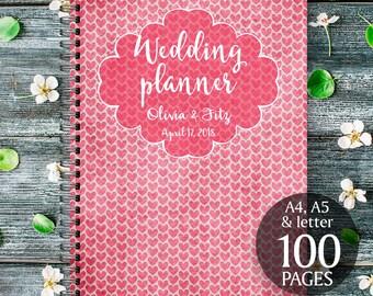Hearts wedding planner, Rustic hearts wedding kit, Red printable wedding binder, Red digital wedding checklist, Red wedding digital binder