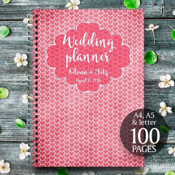 Hearts wedding planner, Rustic hearts wedding kit, Red printable wedding binder, Red digital wedding checklist, Red wedding digital binder