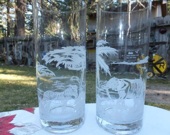 Cera world map glasses gold trimmed world map glasses etched animal glasses beautiful etched animal jungle scenes zebra and elephant clear drinking gumiabroncs Gallery