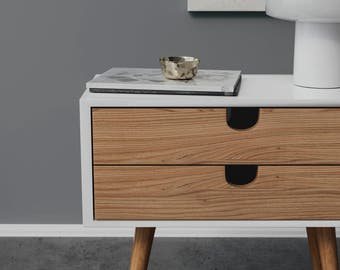 MidCentury nigthstand. Handmade table's modern look is perfect for a chic home. MidCentury nightstand made with oak.