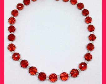 Vintage Cherry Red Beaded Necklace