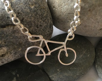 Solid Silver Bicycle Necklace