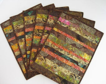 Quilted Placemats, Batik Placemats, Handmade Brown Placemats