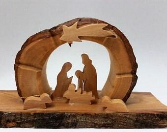 Olive Wood Nativity grottto /carved nativity creche/ Holy Land - E08