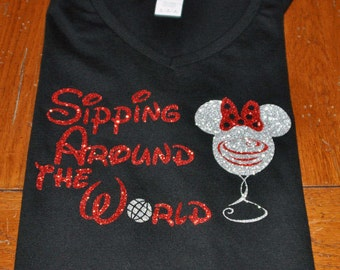 Glitter Disney World Mickey Mouse Sipping Around the World V Neck Shirt/Epcot/Food and Wine Festival/