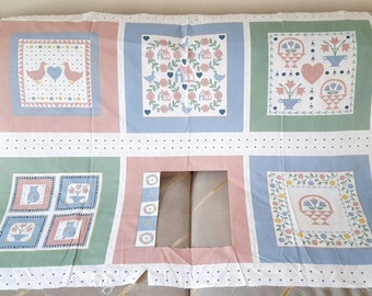 Country Quilting Blocks / Pastel Quilting Panels / Country Geese Cats