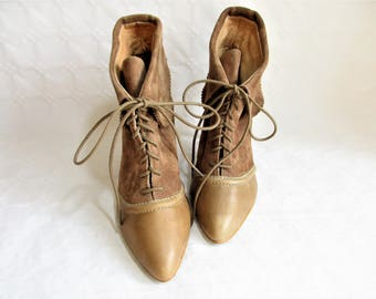 vintage tan leather and suede lace up cuffed high heel booties, Size : EU 37 / UK women's 4 / US women's 6 1/2