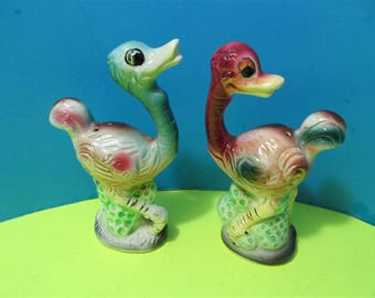 Vintage Ceramic Ostrich  Salt & Pepper Shakers Japan Animals Wild Zoo Africa #923