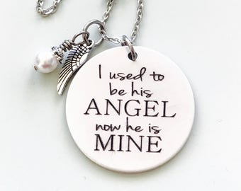 I used to be his Angel now he is mine engraved memorial necklace