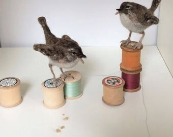 Pair of needle felted wrens