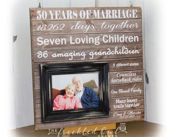 50 Years of Marriage, 50th Anniversary Gift, Golden Anniversary, Grandparent Gifts, Fifty Years of Marriage, Typography 16 X 16