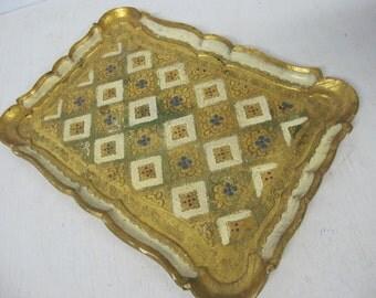Italian Tray Florentine Wood Tray Gold Tray Painted Tray Italian Painted Tray Italy Mid Century Hollywood Regency Decor