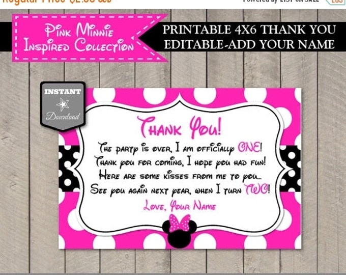SALE INSTANT DOWNLOAD Hot Pink Mouse One Year 4x6 Thank You Card / Editable Add Your Name / Hot Pink Mouse Collection / Item #1731