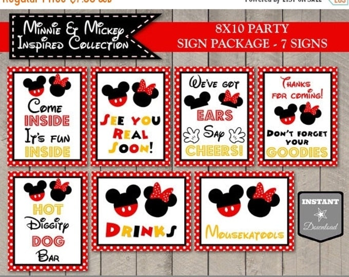 SALE INSTANT DOWNLOAD Girl and Boy Mouse 8x10 Printable Party Sign Package / Classic Girl and Boy Mouse Collection / Item #2100