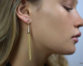 GOLD Tassel Earrings, Dainty Long Earrings, Dangle Chain Earrings, drop earrings, chandelier earrings, Tassel Earrings, long Minimal