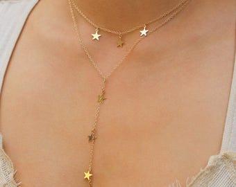 Y necklace, Star Y necklace, Gold or Silver Star Y necklace, lariat necklace, Cameron Diaz necklace, dainty y necklace, minimal necklace,