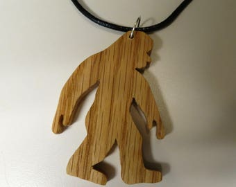 Wood BIgfoot/ Sasquash/ Yeti Pendant with cord necklace