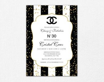 Coco Chanel 30th Birthday Party Invitation