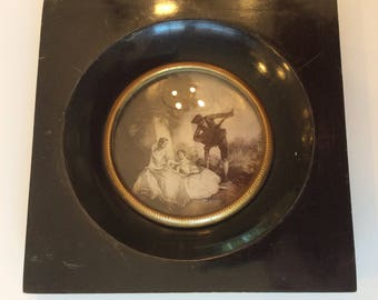 Antique English small ebony wood black lacquer framed print with convex glass