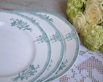 Set of 4 Antique french green transferware plates. Art Nouveau. Antique french transferware. Emerald Green transferware.