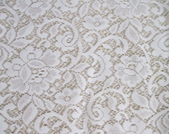 White  polyester lace oblong  tablecloth / fabric
