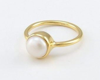 Pearl ring, Freshwater round pearl, Genuine pearl, Solitaire pearl 925 sterling silver ring, Cultured pearl, Real pearl ring,June birthstone